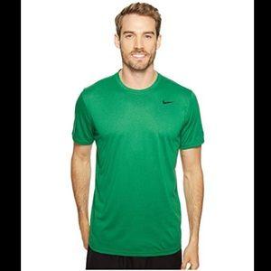 Nike Solid Green Crew Neck Tee